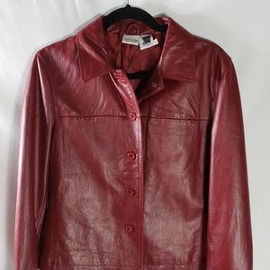 Newport News Women's Red Leather Jacket 12